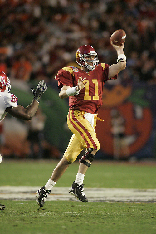 University of Southern California quarterback Matt Leinart drops back to pass during USC's 55-19 victory over Oklahoma on January 4, 2005 in the FedEx Orange Bowl at Pro Player Stadium in Miami, Florida.