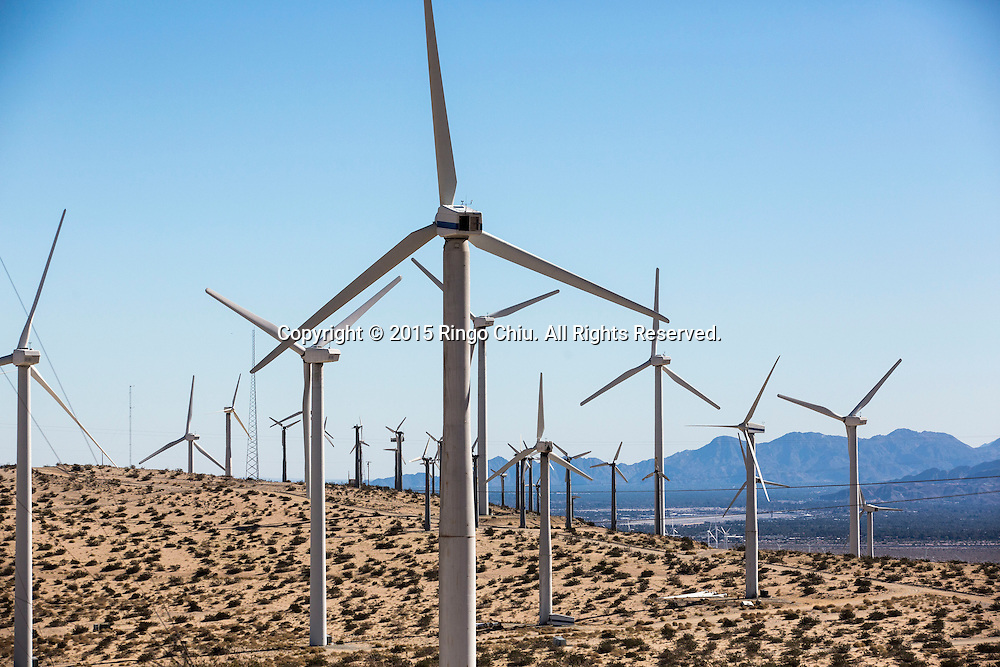 Windmills  are seen at Morongo Valley, California on January 25, 2015. (Photo by Ringo Chiu/PHOTOFORMULA.com)
