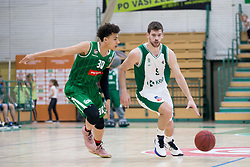 Yusuf Sanon of KK Petrol Olimpija Ljubljana and Paolo Marinelli of KK Krka during basketball match between KK Krka Novo mesto and  KK Petrol Olimpija in 2nd Final game of Liga Nova KBM za prvaka 2017/18, on May 22, 2018 in Sports hall Leona Stuklja, Novo mesto, Slovenia. Photo by Urban Urbanc / Sportida