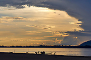 Laos, Champasak Province. Don Daeng Island. Sunset over the Mekong.