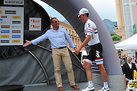 Hinault Bernard / Victoire de  Kennaugh Peter - Sky - 07.06.2015 - Etape 1 - Criterium du Dauphine 2015 - Ugine /  Albertville<br />Photo : Sirotti / Icon Sport