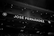 Advertising screens around Marlins Park display the name of the recently passed Marlins ace Jose Fernandez during Monday's game.