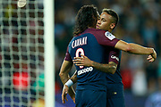 Paris Saint Germain's Uruguayan forward Edinson Cavani celebrates after scoring with Paris Saint Germain's Brazilian forward Neymar Jr during the French championship L1 football match between Paris Saint-Germain (PSG) and Saint-Etienne (ASSE), on August 25, 2017 at the Parc des Princes in Paris, France - Photo Benjamin Cremel / ProSportsImages / DPPI