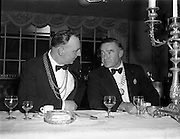 22/10/1957<br /> 10/22/1957<br /> 22 October 1957<br /> Dublin Chamber of Commerce Dinner at the Gresham Hotel, Dublin. On right is Count Cyril McCormack president of the Society of Irish Motor Traders. Left is Councillor T. Stafford, Deputy Lord Mayor of Dublin.