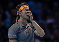 Tennis - 2019 Nitto ATP Finals at The O2 - Day Eight<br /> <br /> Singles Final : Stefanos Tsitsipas (Greece) Vs. Dominic Thiem (Austria)<br /> <br /> A momoent of despair for Dominic Thiem (Austria) as he covers his face with his hands <br /> <br /> COLORSPORT/DANIEL BEARHAM