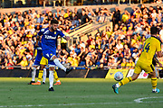 Mateusz Klich (43) of Leeds United shoots at goal during the Pre-Season Friendly match between Oxford United and Leeds United at the Kassam Stadium, Oxford, England on 24 July 2018. Picture by Graham Hunt.
