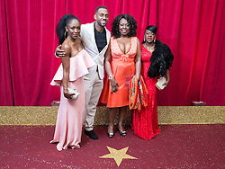 © Licensed to London News Pictures . 16/05/2015 .  The Palace Hotel , Manchester , UK . Diane Parish , Richard Blackwood , Ellen Thomas , Tamika Empson . The red carpet at the 2015 British Soap Awards , The Palace Hotel , Oxford Road , Manchester . Photo credit : Joel Goodman/LNP