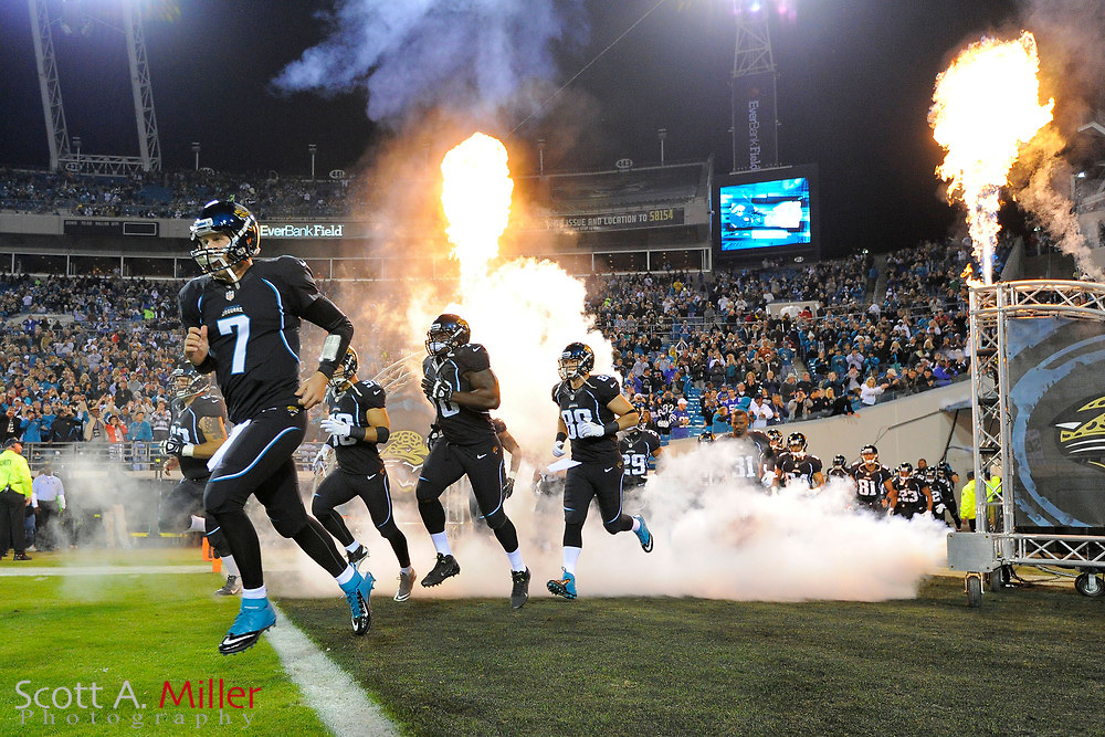 The Jacksonville Jaguars take the field prior to an NFL football game between the Jacksonville Jaguars and the Colts at EverBank Field on November 8, 2012 in Jacksonville, Florida.  The Colts won 27-10. .©2012 Scott A. Miller..