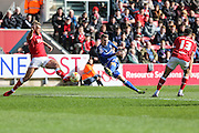 Cardiff City midfielder, Anthony Pilkington (13) takes a shot at goal during the Sky Bet Championship match between Bristol City and Cardiff City at Ashton Gate, Bristol, England on 5 March 2016. Photo by Shane Healey.