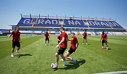 OSIJEK, CROATIA - Friday, June 7, 2019: Wales' Ben Davies and Chris Gunter during a training session at Stadion Gradski vrt ahead of the UEFA Euro 2020 Qualifying Group E match against Croatia. (Pic by David Rawcliffe/Propaganda)