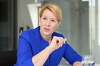 19 AUG 2019, BERLIN/GERMANY:<br /> Franziska Giffey, SPD, Bundesfamilienministerin, waehrend einem Doppel-Interview mit J ens S pahn (nicht im Bild), CDU, Bundesgesundheitsminister, Redaktionsvertretung der Rheinischen Post<br /> IMAGE: 20190819-01-045