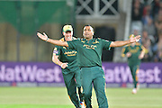 Samit Patel celebrating the wicket of Ryan Ten Doeschate (not shown) with Luke Wood during the Natwest T20 Blast quarter final match between Nottinghamshire County Cricket Club and Essex County Cricket Club at Trent Bridge, West Bridgford, United Kingdom on 8 August 2016. Photo by Simon Trafford.