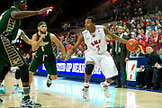 DALLAS, TX - JANUARY 15: Sterling Brown #3 of the SMU Mustangs drives to the basket against the South Florida Bulls on January 15, 2014 at Moody Coliseum in Dallas, Texas.  (Photo by Cooper Neill/Getty Images) *** Local Caption *** Sterling Brown