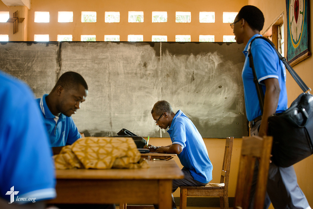 Students test at the Lutheran Center for Theological Studies (CLET) on Wednesday, Feb. 15, 2017, in Dapaong, Togo. LCMS Communications/Erik M. Lunsford