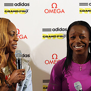 Sanya Richards-Ross, USA, (left) and Veronica Campbell-Brown, Jamaica, talking with the media at the Adidas Grand Prix Press Conference, Hyatt Grand Central, New York ahead of he Adidas Grand Prix at Icahn Stadium, Randall's Island. Manhattan, New York. 23rd May 2012. Photo Tim Clayton