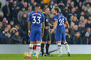 Chelsea defender César Azpilicueta (28) protests with Referee Stuart Attwell  during the Premier League match between Chelsea and Arsenal at Stamford Bridge, London, England on 21 January 2020.