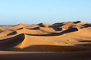 Sahara Desert landscape, Merzouga, Erg Chebbi region of the Moroccan Sahara, Southern Morocco, 2015-06-10. <br />