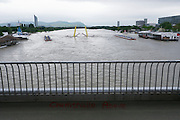 Vienna, Austria. The Danube reaches its highest level since the heavy flooding in 2002.<br /> from Reichsbrücke above the Entlastungsgerinne (flood relief channel).