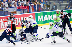 Libor Hudacek of Slovakia and Tomas Surovy of Slovakia vs Robert Kristan of Slovenia and Sabahudin Kovacevic of Slovenia during Ice Hockey match between Slovakia and Slovenia at Day 5 in Group B of 2015 IIHF World Championship, on May 5, 2015 in CEZ Arena, Ostrava, Czech Republic. Photo by Vid Ponikvar / Sportida