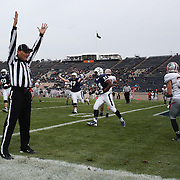 The umpire signals a touchdown during the Yale V Brown, Ivy League Football match at Yale Bowl. Yale won the match 24-17. New Haven, Connecticut, USA. 9th November 2013. Photo Tim Clayton
