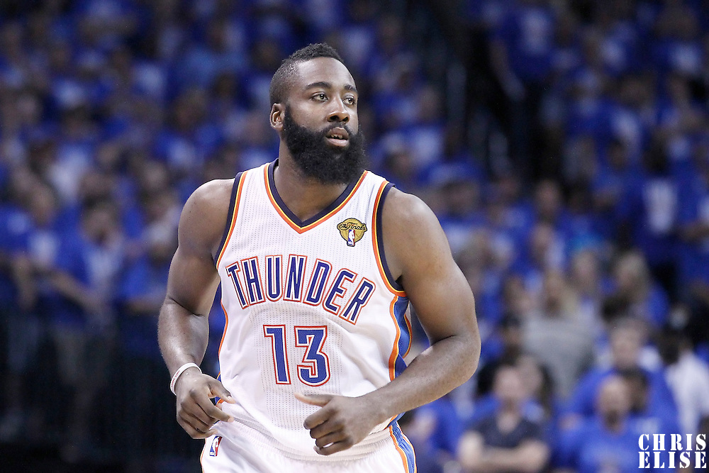 12 June 2012: Oklahoma City Thunder guard James Harden (13) is seen during the Oklahoma City Thunder 105-94 victory over the Miami Heat, in Game 1 of the 2012 NBA Finals, at the Chesapeake Energy Arena, Oklahoma City, Oklahoma, USA.