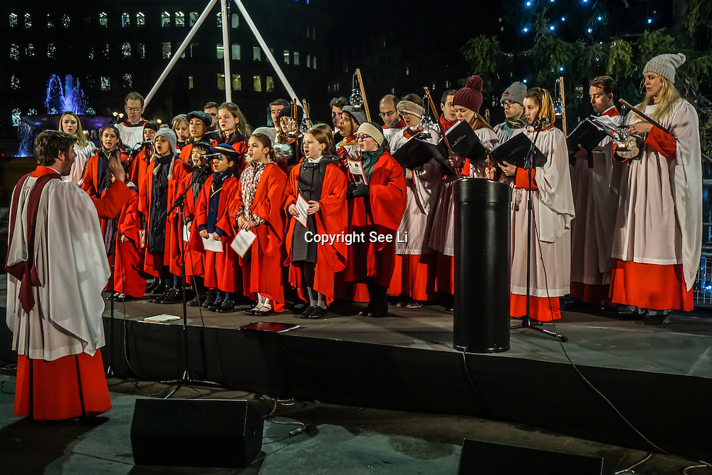 Lord Mayor of Westminster, the British ambassador to Norway and the Mayor of Oslo attends The Christmas tree in Trafalgar Square is illuminated after the annual lights switch-on in London, December 1, 2016. The tree has been a gift since 1947 from the people of Norway in recognition of Britain's support during World War II, London,UK. Photo by See Li