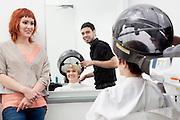 Woman at hair saloon