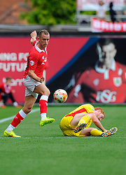 Bristol City's Aaron Wilbraham battles for the ball with Milton Keynes Dons' Dean Lewington  - Photo mandatory by-line: Joe Meredith/JMP - Mobile: 07966 386802 - 27/09/2014 - SPORT - Football - Bristol - Ashton Gate - Bristol City v MK Dons - Sky Bet League One