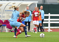 Steph Houghton of Manchester City Women tussles with Katie Rood of Bristol City Women - Mandatory by-line: Paul Knight/JMP - 16/09/2018 - FOOTBALL - Stoke Gifford Stadium - Bristol, England - Bristol City Women v Manchester City Women - Continental Tyres Cup