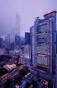 Central District. Bank of China (l.) by Ieoh Ming Pei, Hong Kong and Shanghai Bank by Sir Norman Foster (r.), Legco Building (foregr. l.)