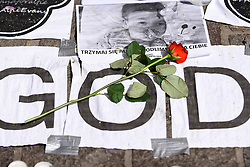April 27, 2018 - Krakow, Poland - A rose flower seen in tribute for the life of Alfie Evans during a rally organized by a conservative nationalist association in front of the consulate of Great Britain in Krakow. Alfie Evans is a 2 years old young boy, with a serious undiagnosed brain condition. The Italian government has granted Alfie Evans an Italian citizenship to bring him to Italy but the British courts have refused to allow the child, who still continues to fight after being taken off life support earlier this week, to be transferred to Italy. (Credit Image: © Omar Marques/SOPA Images via ZUMA Wire)