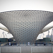 The curving lines of one of the pavillions from the World Expo 2010 in Shanghai China.