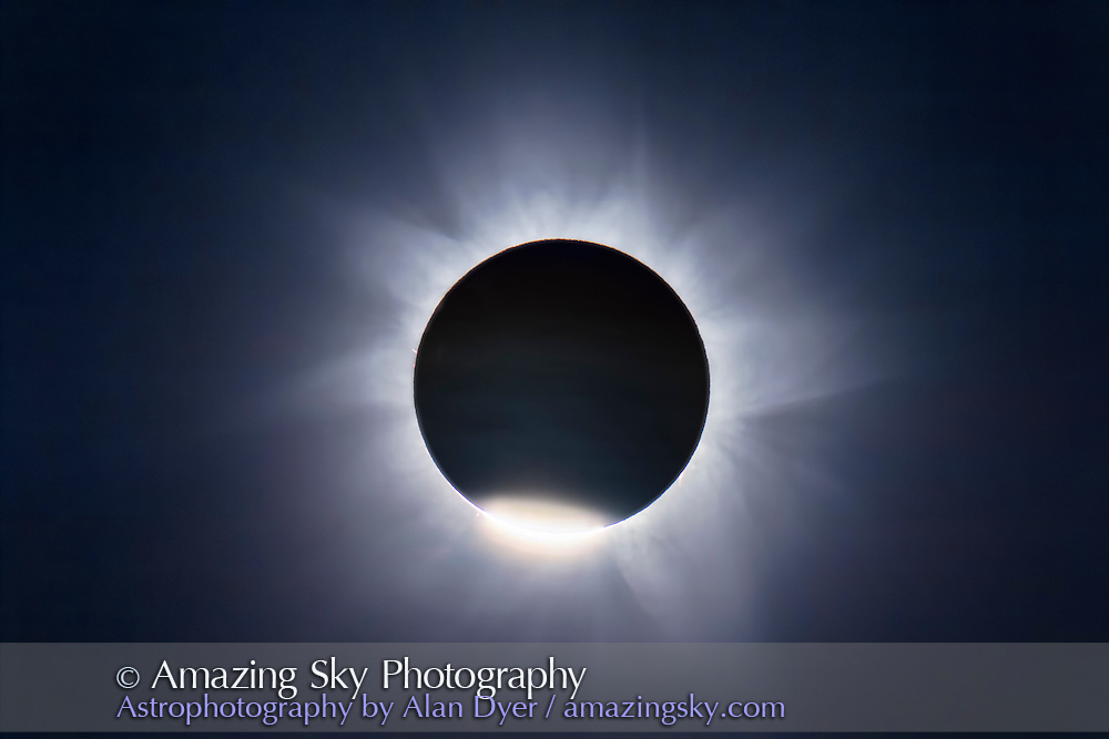 A composite of the November 14, 2012 total solar eclipse from Lakeland Downs, Queensland, Australia. This shows the second contact C2 diamond ring layered with a single longer exposure of the corona during totality.<br /> <br /> Both with a Canon 60Da and Astro-Physics Traveler 106mm apo refractor at f/5.8. The diamond ring was 1/400 second, and the corona at 1/60 second.