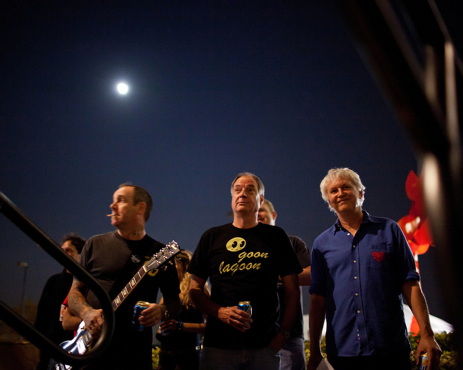 Members of Guided By Voices wait for their cue backstage at City Plaza during the second night of the Hopscotch Music Festival, Friday, Sept. 8, 2011.