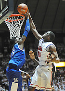 """Kentucky's Nerlens Noel (3) defends against Mississippi's Reginald Buckner (23) at the C.M. """"Tad"""" Smith Coliseum on Tuesday, January 29, 2013. Noel had a school record 12 blocks as Kentucky won 87-74. (AP Photo/Oxford Eagle, Bruce Newman).."""