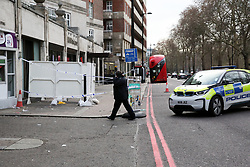 © Licensed to London News Pictures. 02/01/2019. London, UK. A police cordon remains in place around the doorway to 80 Park Lane, where a security guard was stabbed to death on New Year's Day by a group trying to get into a private party on New Year's Day. Three other people were also knifed in the attack and according to the police their injuries are not life threatening. Photo credit: Dinendra Haria/LNP