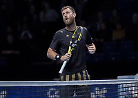 Tennis - 2019 Nitto ATP Finals at The O2 - Day Eight<br /> <br /> Doubles Final : Pierre-Hugues Herbert (FRA) & Nicolas Mahut (FRA) Vs. Raven Klaasen (RSA) & Michael Venus (NZL)<br /> <br /> Michael Venus (NZL) reacts after his net drop shot falls onto his side of the court <br /> <br /> COLORSPORT/DANIEL BEARHAM