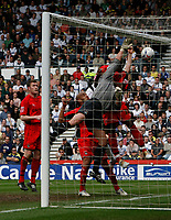 Photo: Steve Bond.<br />Derby County v Coventry City. Coca Cola Championship. 09/04/2007.  Goalmouth action as Andy Marshall struggles under pressure