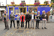 BECOMING ANDY WARHOL! FRAMING THE VISUAL ARTS PROGRAMME AT GALWAY ARTS FESTIVAL..A group of Andy Warhol look-a-likes were pictured at Tigh Neachatain's quay St. Galway to launch the Visual Arts Programme of the Galway Arts Festival 2010, and to honour of the 'Father of Pop Art' who was the first artist to produce a creative collaborate with ABSOLUT in 1985.   Today's Warhol's will feature in a pop-art film by audio-visual artist Phil RetroSpector, a creative collaboration with ABSOLUT that expands the Visual Arts Programme this year from galleries to online spaces, a first time move for the Festival. Central to this year's programme is the introduction of a spectacular new temporary gallery, the Festival Fairgreen Gallery, just off Eyre Square, housed in a new building with an amazing glass façade and a beautiful flood of natural light.