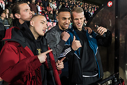 (L-R) Noa Lang of Jong Ajax, Noussair Mazraoui of Jong Ajax, Mitchel Bakker of Jong Ajax during the Jupiler League match between Ajax U23 and MVV Maastricht at De Toekomst on April 28, 2018 in Amsterdam, The Netherlands