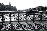 1988, Paris, France --- Iron Railing Over the Seine River --- Image by © Owen Franken/CORBIS