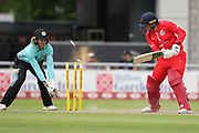 Lancashire Thunders Georgie Boyce bowled during the Women's Cricket Super League match between Lancashire Thunder and Surrey Stars at the Emirates, Old Trafford, Manchester, United Kingdom on 7 August 2018.