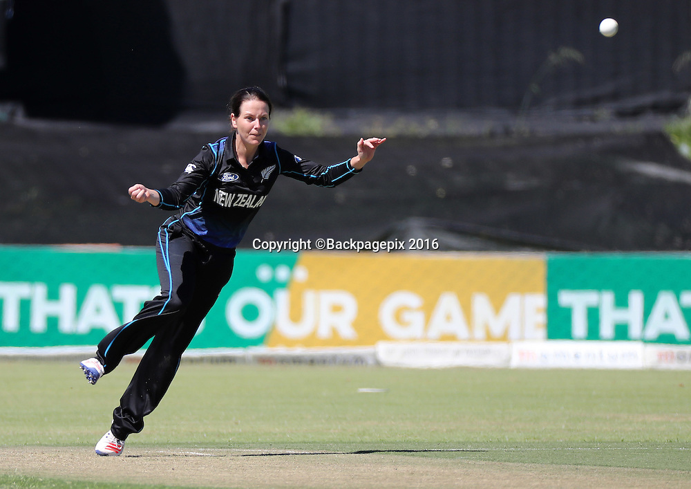 Erin Bermingham of New Zealand bowls during the 2016 International ODI Womens cricket match between South Africa and New Zealand at Boland Park, Paarl on 16 October 2016 ©Chris Ricco/BackpagePix