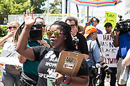 Protesters gather outside Hollywood's City Hall in South Florida demanding city officials to remove street signs named after confederate generals Robert E. Lee, John Bell Hood and Ku Klux Klan founder Nathan Bedford Forrest. The Hollywood City Commission was scheduled to vote on whether to rename the streets named after confederate generals on Wednesday August 30, 2017.<br /> <br /> photo by Samuel Navarro
