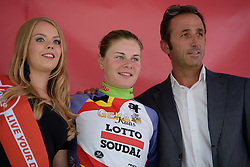 Lotte Kopecky (Lotto Soudal) is the best placed Belgian rider at the 97 km Stage 3 of the Lotto Belgium Tour 2016 on 9th September 2016 in Geraardsbergen, Belgium. (Photo by Sean Robinson/Velofocus).