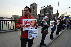 """Egyptian protesters hold banners writing """"Sisi murderer"""" during their protest against state policies and the use of excessive violence to disperse demonstrators in Cairo, Egypt, Feb. 14, 2015. EXPA Pictures © 2015, PhotoCredit: EXPA/ Photoshot/ Ahmad Gomaa<br /> <br /> *****ATTENTION - for AUT, SLO, CRO, SRB, BIH, MAZ only*****"""