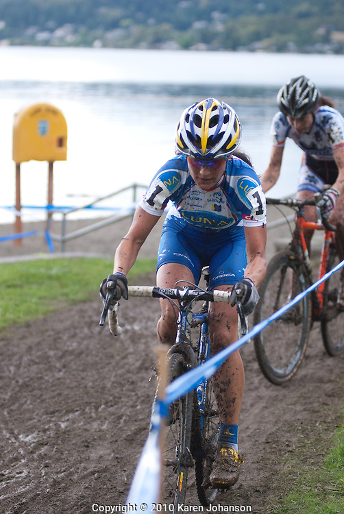 Katerina Nash leading the women's elite field at the Rad Racing GP on September 19, 2010.