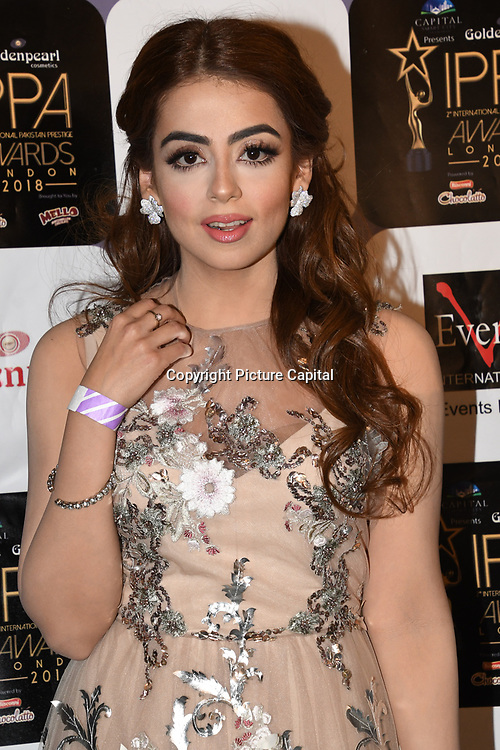 Presenter arrives at the Annual International Pakistan Prestige Awards (IPPA) at Indigo at The O2 on 9th September 2018, London, UK