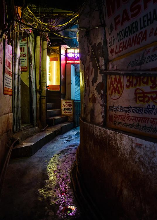 NEW DELHI, INDIA - CIRCA NOVEMBER 2018: Street on the Chandni Chowk area in Old Delhi.