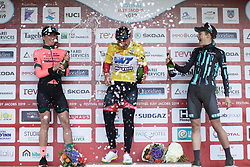 The top three overall after Stage 2 of 2019 Festival Elsy Jacobs, a 111.1 km road race starting and finishing in Garnich, Luxembourg on May 12, 2019. Photo by Balint Hamvas/velofocus.com
